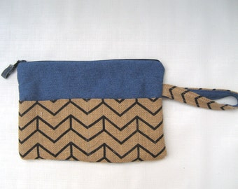 Denim and Burlap I-Pad cover, Zippered pouch, Padded pouch, Tablet cover
