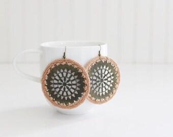 Beige Crochet Medallion Earrings