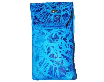 blue leather iPhone 4/5S/5C or other cell phone sleeve with silkscreened gears pattern