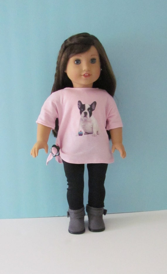 American Girl Grace Thomas pink knit shirt with bulldog picture and black knit leggings