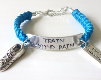 Train Beyond Pain Runners Running Sneaker I Choose Strength Training Charm Bracelet You Choose Your Cord Color(s)