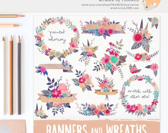 3 FOR 2. Watercolor Flower Clipart Wreaths, Banners + Bouquets. Textured Watercolour Florals. Digitally Handdrawn Painted Flowers CA001.