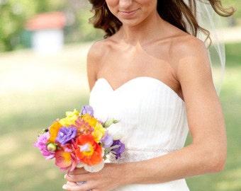 Elbow length Wedding Bridal Veil white, ivory, Tulle Wedding veil bridal Veil Elbow length bridal veil cut edge veil Double Layer Blusher