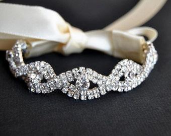 Crystal Bracelet Rhinestone beaded cuff bracelet- bridal, bridesmaid cuff bracelet,bridal bracelet, beaded crystal cuff