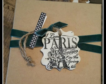 Paris in Springtime ~ Polymer Clay Ornament or Gift Tag ~