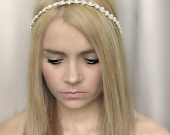 Ivory bridal pearl headband,Wedding hairband,Ivory hair band, Bridal Head band,Pearl Hairpiece,Pearl Halo,Wedding hair accessories