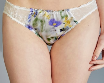 Satin Panties -- Floral Knicker -- Silk brief -- Silky Panties -- Satin Knickers -- Silk Pantie -- Silk Brief