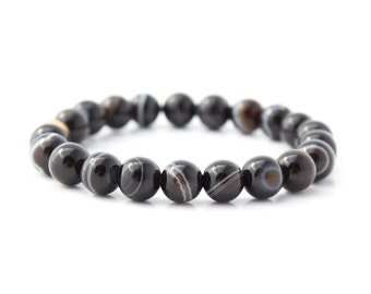 Botswana Agate Bracelet/ Banded Agate Bracelet/ Gold Agate Bracelet/ Botswana Agate Jewelry/ Banded Agate Jewelry