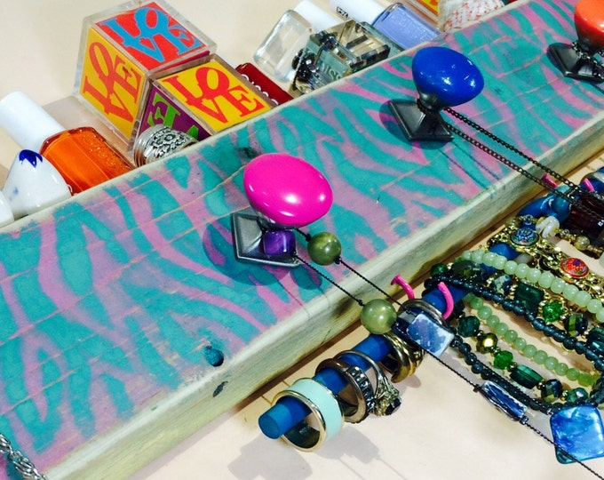 Necklace holder organizer /jewelry hanger /reclaimed wood decor/ hanging storage wall rack teal, hot pink 5 knobs 2 hooks bracelet bar