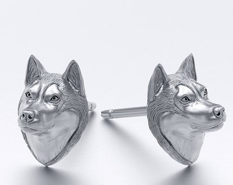 Handmade Siberian Husky Earring Studs in Oxidized Sterling Silver for all the Dog, Puppy, and Pet Lovers