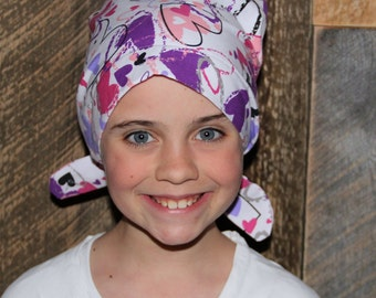 Mia Children's Head Cover, Girl's Cancer Headwear, Chemo Scarf, Alopecia Hat, Head Wrap, Cancer Gift for Hair Loss - Pink Hearts