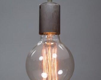 Steel Nickel Ceiling light Industrial Ceramic ceiling light, Antique Edison Bulb, Lamp, Rustic Lighting