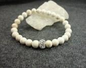 White Turquoise/Austrian Crystal/Sterling Silver/Stacking Bracelet/Fancy Boho