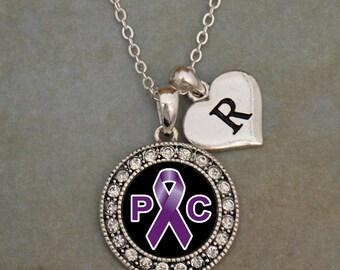 Custom Initial Pancreatic Cancer Awareness Necklace
