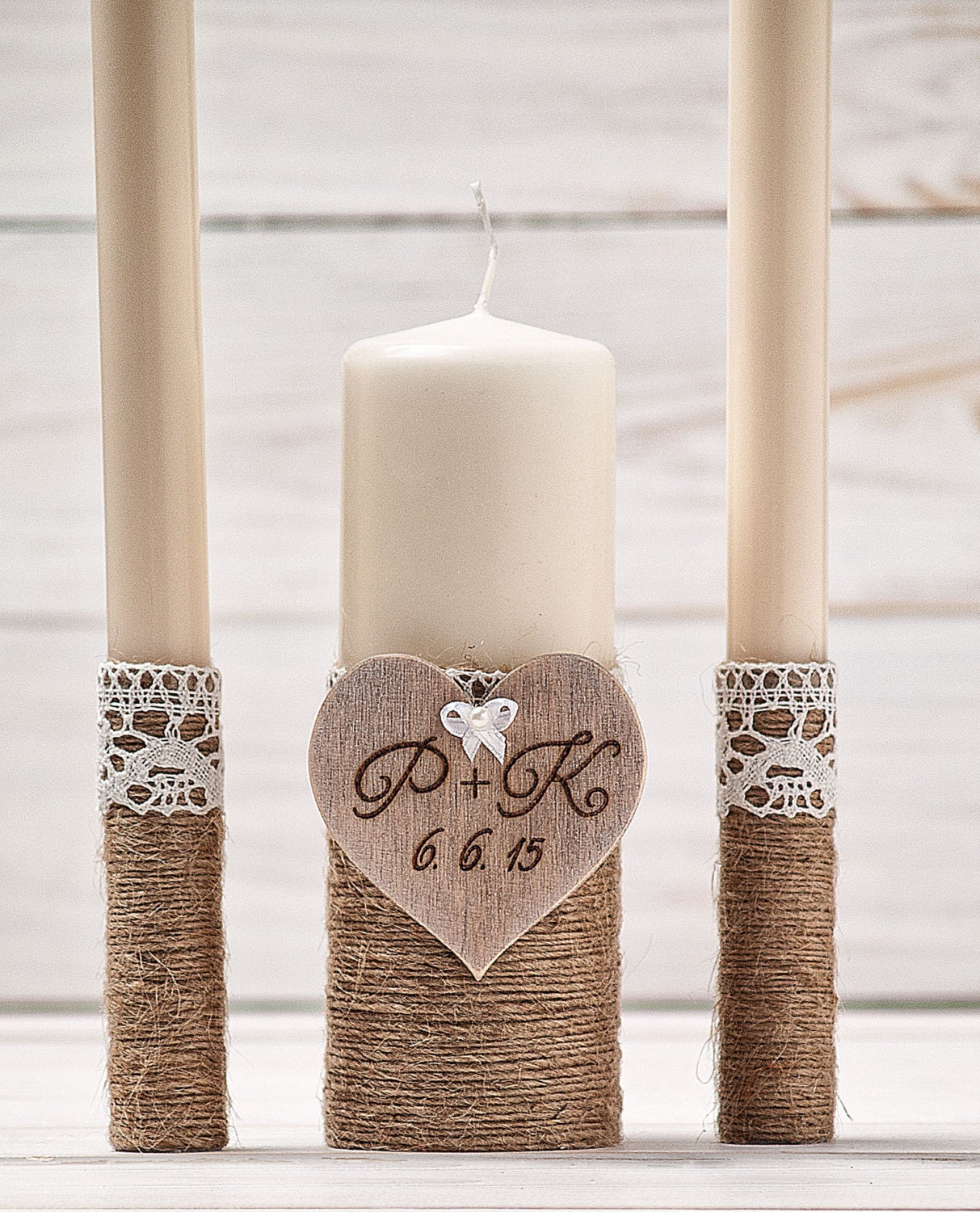 Wedding Candles: Personalized Unity Candle Set Wedding Unity Candles Ivory