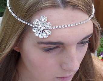 Bridal browband, Swarovski Forehead band, Bridal Headress, Bridal Headband, Madeline