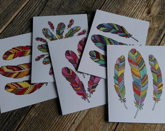 Feather Cards / set of 5 / blank