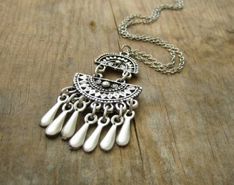 Ethnic Chandelier Necklace with Fringe - Silver with Leather Cord or Chain - Bohemian Necklace, Boho Necklace , Aztec, Mayan, Layering