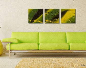 Small paintings Small Wall Art Birthday gift Jamaica painting Original Abstract art Modern painting Canvas Wall art Triptych by Rasko