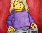 "Custom Minifig Portrait ~ 5"" x 7"" ~ Great office gift for geeks, gamers & Lego lovers."