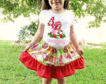 Strawberry Shortcake Outfit, Birthday Tutu Outfit, Strawberry Shortcake Shirt, Strawberry Birthday Outfit, 1st Birthday, Personalized Shirt