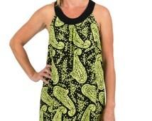 Alice Viscose Rayon Sun Dress – Lime & Black