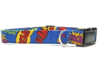 Dog Collar, Comic Hype Blue Durable Fabric Dog Collar, XS, S, M, L, XL