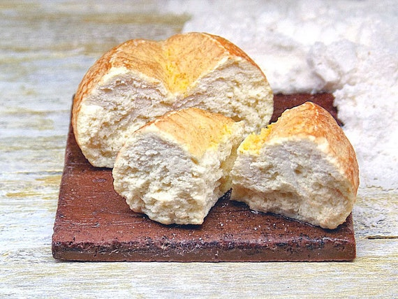 Fake food miniature homemade loaf of bread polymer clay 1 12 for Artificial bread decoration