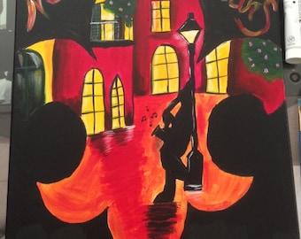 New Orleans Jazz Fleur de Lis painting