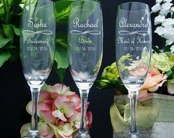 Personalized Champagne Glasses / Bridesmaids Gifts / Engraved Wedding Glasses / Custom / 16 DESIGNS / Select ANY Quantity