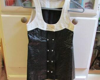 1960s black & white vinyl buttoned waistcoat/sleeveless tunic, small