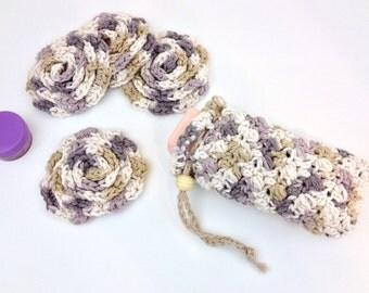 Mini Spa Set Crochet Bath Set English Lace Flower Face Pads Soap Pouch Shower Soap Bag Gentle Exfoliating Face Scrubbies Soap Saver Cotton