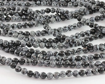 Wholesale Snowflake Obsidian AAA 4, 6, 8,10,12 mm. Smooth Round Beads, Natural Stone Beads, Beads for Handmade Jewelry, High Quality Beads