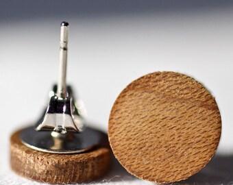"""Light Figure Russian Olive Wood Stud Earrings or Fake Plugs 3/8"""" Diameter"""