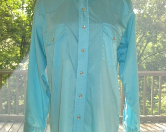 SALE: 80s Western Button Down Shirt, Vintage Men's Rockabilly Solid Turquoise Aqua Malco Modes Cowboy Snap Shirt Size 16/33 L Large
