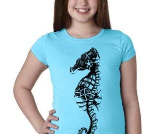 Girls Steampunk Seahorse Shirt 3710