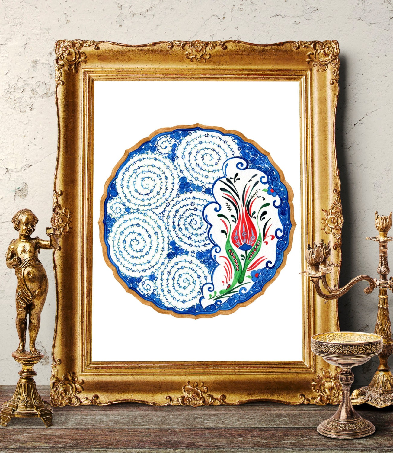 Traditional Turkish Ottoman Red Flower Home Decor Mosaic: Ottoman Red Tulip Watercolor Painting Turkish Red Flower Wall