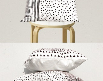Decorative Pillow Cover , Geometric Pillow Case, Kids Pillows Case, Black and White Pillow Case C1