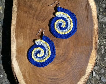 Free form crochet spiral earrings, blue crochet earrings, boho festival hippy dangly earrings, nautilus spiral