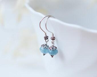 FREE SHIP Silver earrings blue earring handmade jewelry earrings silver dangle earrings earrings gift for her earring silver gift earring