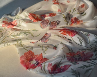 Poppies silk scarf. White scarf with red flowers. Hand painted silk scarf. Birthday gift. Wedding gift for her Silk Scarves Silk Painting