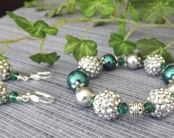 Acrylic Silver Berry Bead Bracelet and Earring Set