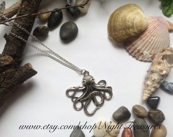 Octopus necklace on a antique silver chain of 24'' or 61cm