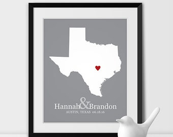 Valentines Day Gift, Wedding 1st Anniversary Gift For Couples Custom Wedding Gift for Her Texas Housewarming Gift State Art - Any STATE