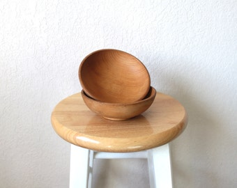 Two Vintage Rustic Wooden Bowls