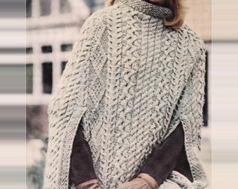 Knitting Pattern Cape Arm Slits : Cabled poncho Etsy