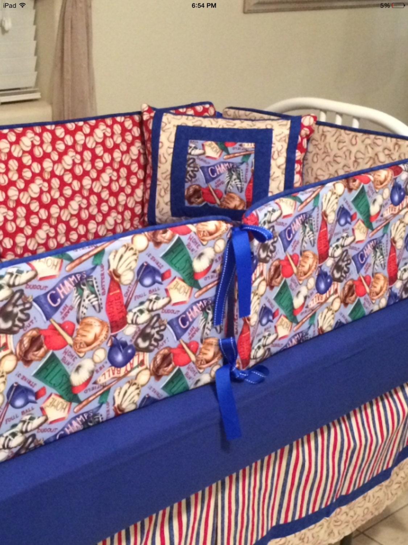 Crib Bedding Set 11 pieces Baseball Themed by KWaltersDesigns