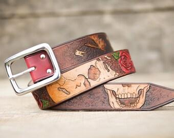 "Hand tooled leather belt custom ""Vanity Fall""- Bandit"
