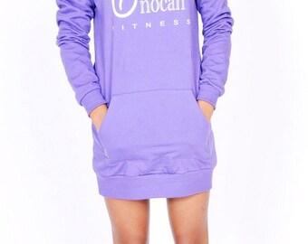 Fleece Pullover Hoodie Sweatshirt Dress - O/S