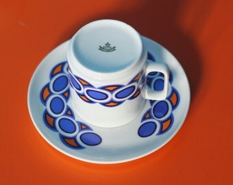 70s Bavaria Coffe Tea Cup with Saucer - 11 pieces - Blue and Orange Pattern - Excellent condition